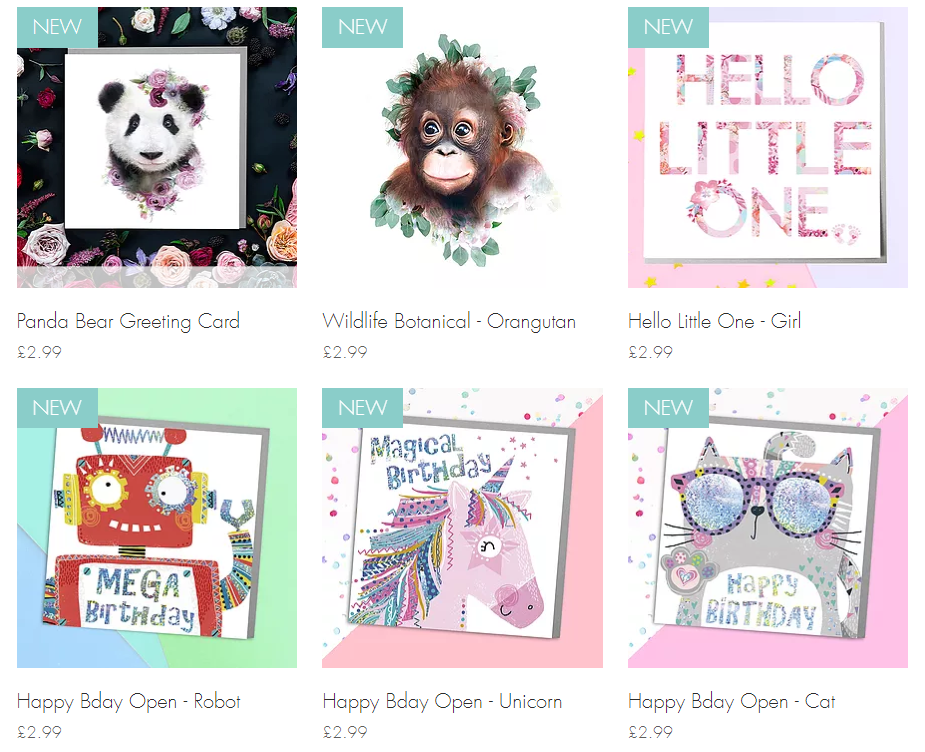 Sample of greetings cards by Lola Design