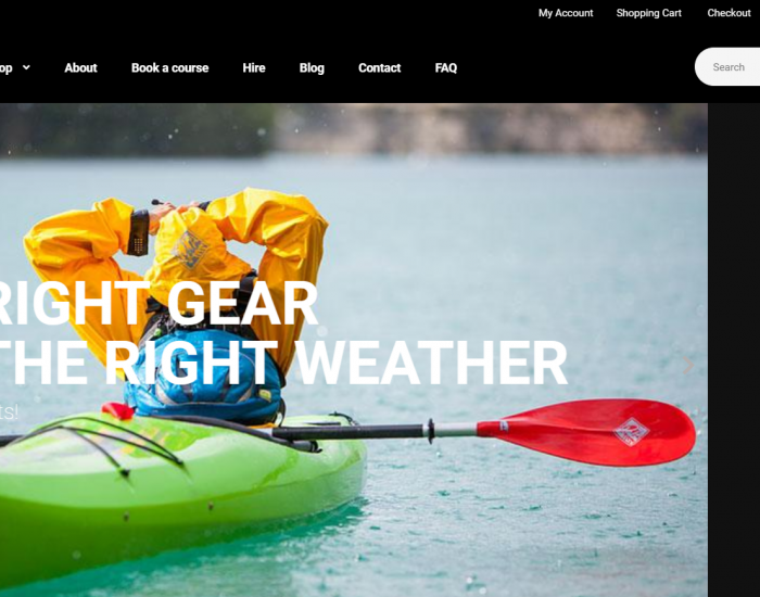 Canoe Centre's new ecommerce store Home page